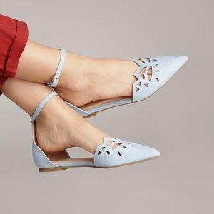 Shoes - Light Blue ankle strap flats